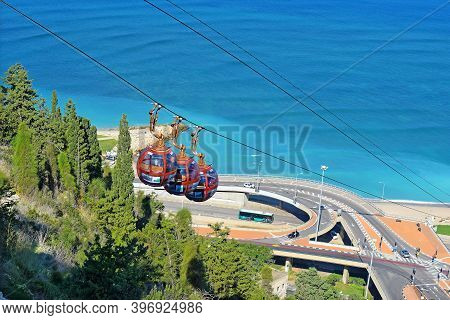 Haifa, Israel, November 17, 2020 : Cabins Of The Cable Car At The Upper Station On Mount Carmel Agai