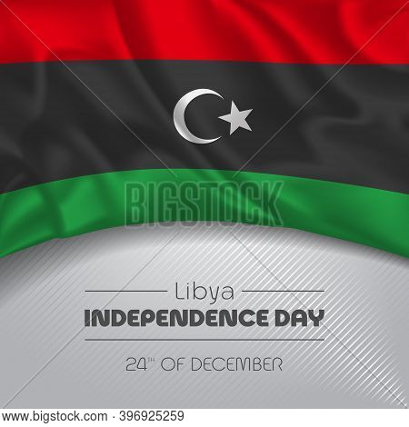 Libya Happy Independence Day Greeting Card, Banner Vector Illustration