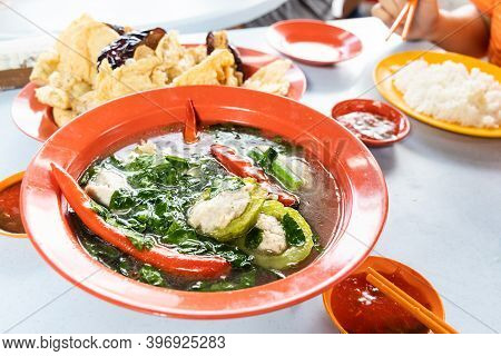 Serving Of Yong Tau Fu, Malaysia Popular Stuffed Fish Meat In Vegetable And Tofu.