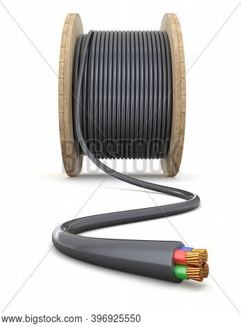 Wooden Cable Drum With Black Cable On White Background - 3d Illustration