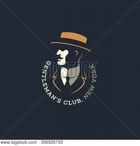 Man In A Straw Hat Logo Design Template For A Dark Background. Vector Illustration.
