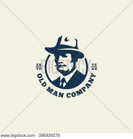 Old Man In A Hat Logo Design Template For A Light Background. Vector Illustration.
