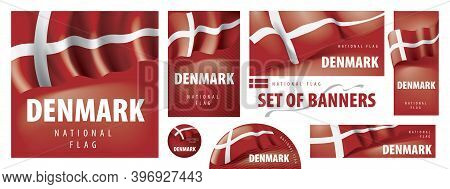 Vector Set Of Banners With The National Flag Of The Denmark