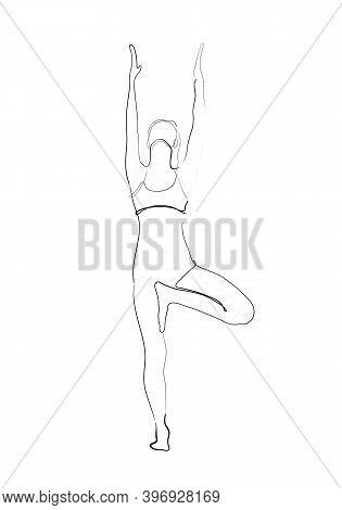 Hand Drawn Line Art Illustration Of Vrikshasana Pose Or Tree Pose.