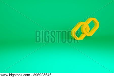 Orange Chain Link Icon Isolated On Green Background. Link Single. Hyperlink Chain Symbol. Minimalism