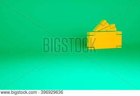 Orange Stacks Paper Money Cash Icon Isolated On Green Background. Money Banknotes Stacks. Bill Curre