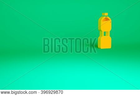 Orange Bottle Of Water Icon Isolated On Green Background. Soda Aqua Drink Sign. Minimalism Concept.