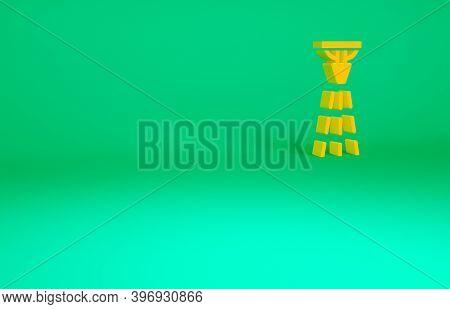 Orange Fire Sprinkler System Icon Isolated On Green Background. Sprinkler, Fire Extinguisher Solid I