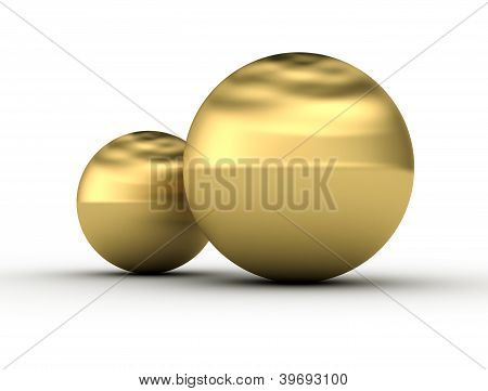 Two golden Spheres