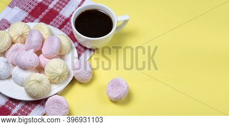 Small Homemade Meringue Kisses. Banner With Meringue Cookies And Coffee Cup On Red Tablecloth And Ye