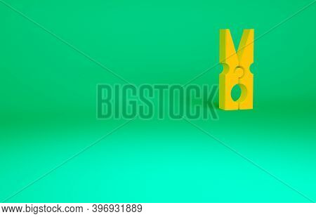Orange Old Wood Clothes Pin Icon Isolated On Green Background. Clothes Peg. Minimalism Concept. 3d I