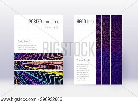 Geometric Cover Design Template Set. Rainbow Abstract Lines On Dark Blue Background. Bizarre Cover D