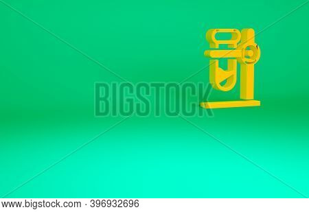 Orange Glass Test Tube Flask On Stand Icon Isolated On Green Background. Laboratory Equipment. Minim