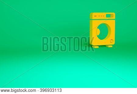 Orange Washer Icon Isolated On Green Background. Washing Machine Icon. Clothes Washer - Laundry Mach