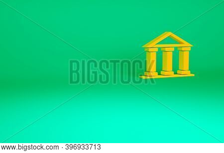 Orange Courthouse Building Icon Isolated On Green Background. Building Bank Or Museum. Minimalism Co