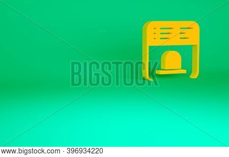 Orange Ticket Office To Buy Tickets For Train Or Plane Icon Isolated On Green Background. Buying Tic