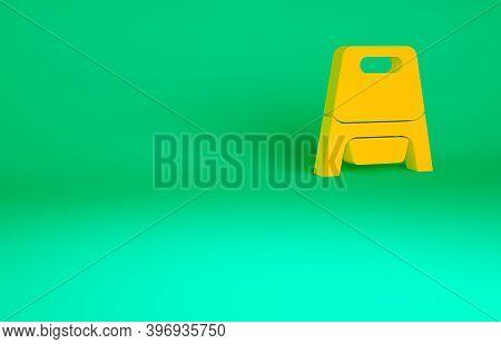 Orange Baby Potty Icon Isolated On Green Background. Chamber Pot. Minimalism Concept. 3d Illustratio