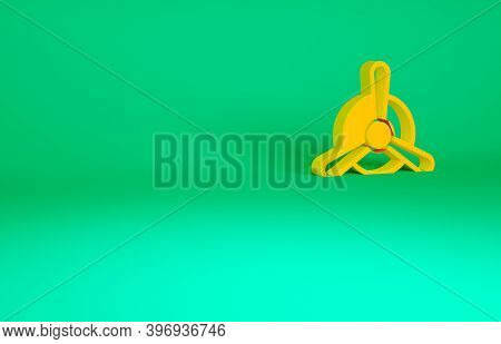 Orange Plane Propeller Icon Isolated On Green Background. Vintage Aircraft Propeller. Minimalism Con