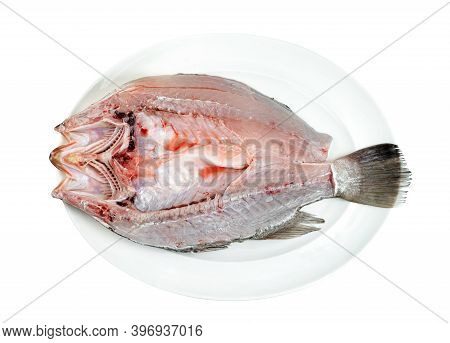 Barramundi Or Seabass Fish In Dish Isolated On White Background ,include Clipping Path