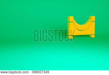 Orange Skate Park Icon Isolated On Green Background. Set Of Ramp, Roller, Stairs For A Skatepark. Ex
