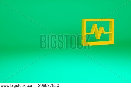 Orange Computer Monitor With Cardiogram Icon Isolated On Green Background. Monitoring Icon. Ecg Moni