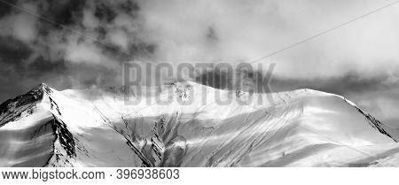 Black And White View On Off-piste Snow Slope In Evening. Caucasus Mountains, Georgia, Region Gudauri