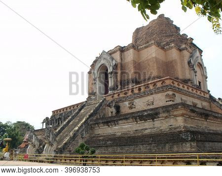 Chiang Mai, Thailand, April 25, 2016: General View Of The Wat Chedi Luang Stupa In Chiang Mai