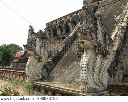 Chiang Mai, Thailand, April 25, 2016: Stupa Wat Chedi Luang In Chiang Mai With Two Large Snakes