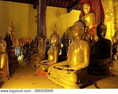 Chiang Mai, Thailand, April 25, 2016: Different Images Of Buddha At Wat Intakhin Pillar Vihara Templ