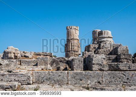 Roman Temple Or Tempio Romano Ruins At The Forum Of Paestum In Italy