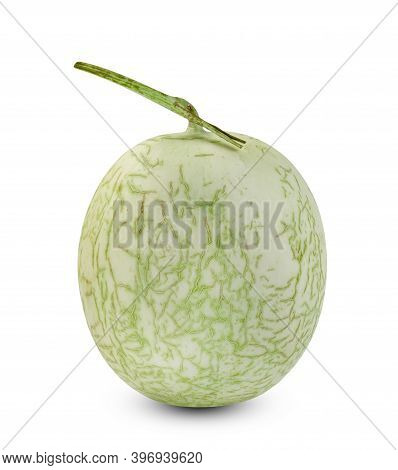 Green Cantaloupe Melon Isolated On White Background ,include Clipping Path