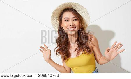 Fashion Summer Set,beautiful Asian Woman With Hat