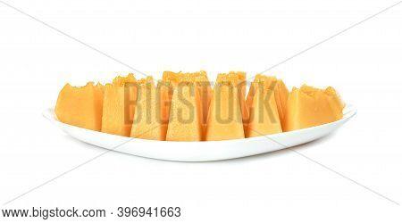 Orange Cantaloupe Melon Fruit Sliced On Dish Isolated On White Background