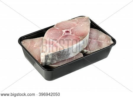 Spanish Mackerel Slice Or Spotted Mackerels In Black Plastic Box Isolated On White  Background ,scom