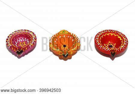 Happy Diwali - Colorful Clay Diya Lamp, During Diwali Celebration