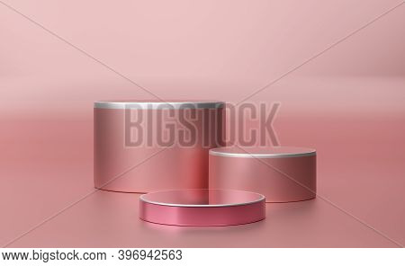 Podium Empty With Geometric Shapes In Pink Pastel Composition For Modern Stage Display And Minimalis