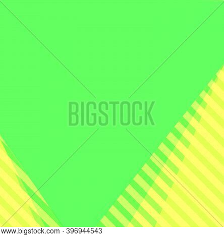 Yellowish Green With Yellow Stripes And Yellowish Green Plain Background And Copy Space.