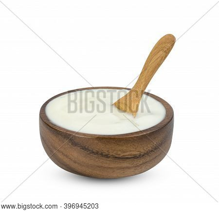 Yoghurt With Nata De Coco Dutche In Wooden Bowl And Spoon Isolated On White Background ,include Clip