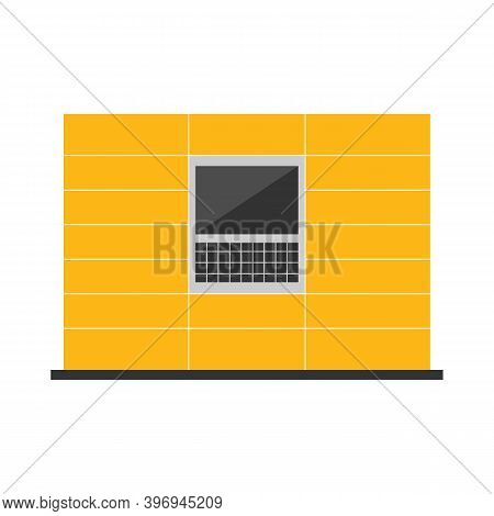 Yellow Parcel Station, Parcel Locker, Postamat Conceptual Vector Illustration For Noncontact Deliver