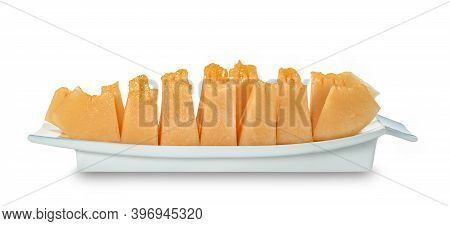 Orange Cantaloupe Melon Fruit Sliced On Dish Isolated On White Background ,include Clipping Path
