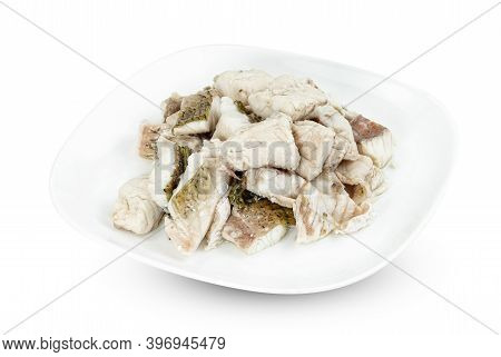 Barramundi Or Asian Seabass Fish Boiled With Dish Isolated On White Background ,include Clipping Pat