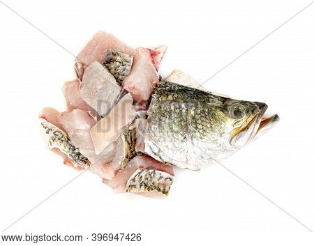Barramundi Or Seabass Fish Sliced With Head Isolated On White Background
