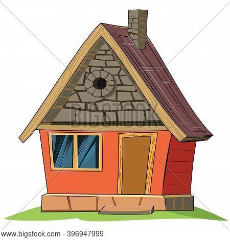 Stone House. Fabulous Cartoon Object. Cute Childish Style. Ancient Dwelling. Tiny, Small. Isolated O