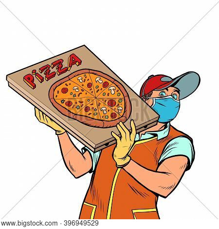 Pizza Delivery Guy In A Medical Mask. Cartoon Character Pizza Delivery Guy. Cartoon People Vector Il
