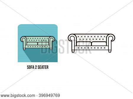 Design Of Sofa Chesterfield 2 Seat - Chairs Furniture Mock Up Vector Double Seat