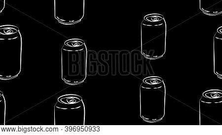 Tin Bottles On Black Background, Vector Illustration, Pattern. Bottle For Drinks And Lemonades. Cont