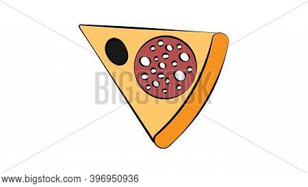 Slice Of Pizza On A White Background, Vector Illustration. An Appetizing Slice Of Pizza Stuffed With