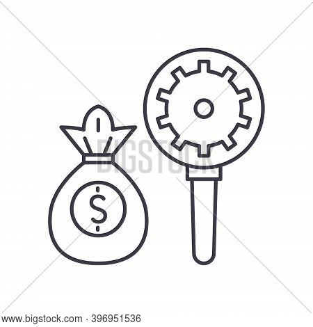 Fundamental Analysis Icon, Linear Isolated Illustration, Thin Line Vector, Web Design Sign, Outline