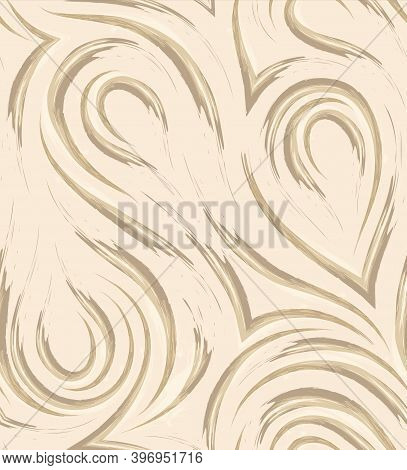 Vector Seamless Pattern In Trendy Set Sail Champagne Colors. Flowing Loop Stripes And Corners Beige