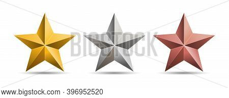 Gold Silver Bronze 3d Metal Stars Isolated On White Background. Vector Illustration